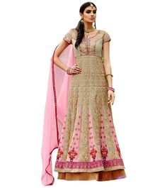 Naksh - Unique Dusty Green and Pink Heavy Anarkali Suit