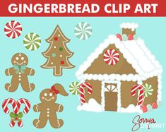 gingerbread house clipart | SALE Christmas Clipart Gingerbread House With Man Woman Candy and ...