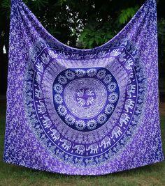 Bohemian Hippie Boho Large Purple Multi Wall Hanging Tapestry Bedspread - GoGetGlam - 1