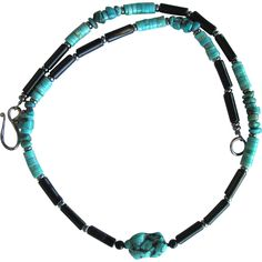 Men's Turquoise and Black Agate Necklace with Nacozari Turquoise Heishis and Turquoise Nugget Focal