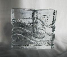 Pukeberg Textured Scandinavian Crystal Clear Art Glass Retro 1960 70's Vase | eBay