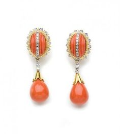 Pair of Gold, Fluted Coral, Coral, and Diamond Pendant-Earclips for Sale at Auction on Wed, 09/24/2008 - 07:00 - Important Estate Jewelry | Doyle Auction House
