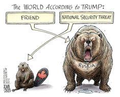 The world according to Trump: National Security Threat vs. Trump Cartoons, Funny Cartoons, Political Satire, Political Cartoons, Donald Trump, Social Issues, Dumb And Dumber, Lion Sculpture, Humor