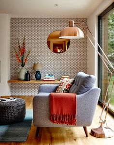 10 Superb Accent Chairs For Small Living Rooms accent chairs 10 Superb Accent Chairs For Small Living Rooms copper living room large floor lamp Home Living Room, Living Room Designs, Living Spaces, Small Living, Living Room Floor Lamps, Living Room With Grey Sofa, Copper And Grey Living Room, Copper Room, Next Living Room
