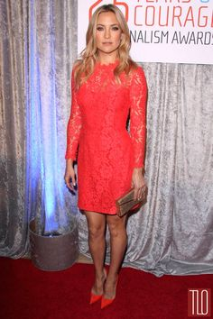 Kate Hudson in a Temperley London red lace dress paired with Christian Louboutin shoes