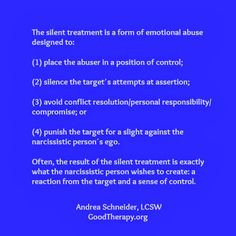 emotional abuse of silent treatment - Google Search
