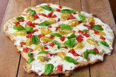 The Café Sucré Farine: Grilled Pizza Margherita w/ Heirloom Tomatoes and Toasted Pine Nuts