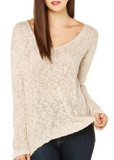 Chic V Neck Long Sleeve Sweaters for Woman