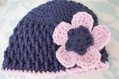I used this flower on the 6-month size of the deeply textured hat .