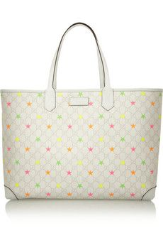 Gucci Monogram star-print coated-canvas tote   NET-A-PORTER