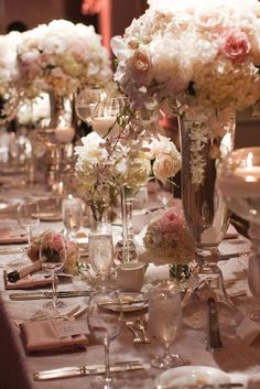 Dreamy floral centerpieces in varying heights. Photo by Thisbe Grace Photography #wedding #centerpieces