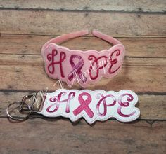 """ITH Hope Awareness Ribbon Headband SLIDER™ and Key Fob Embroidery Design This file includes the 2016 SLIDER™ for 1/4"""", 3/8"""", and 5/8"""" headbands and the Key Fob which requires 1.25"""" key fob hardware..."""