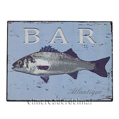 Cuadro metálico Bar con dibujo de pescado