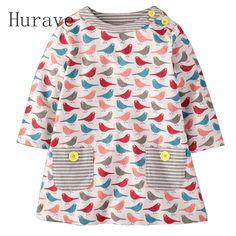 Hurave 2017 Fashion Autumn wear Kids Dress Long Sleeved Cartoon Bird Pattern Girls Costume Cotton Print Kids Clothing Dresses #Affiliate