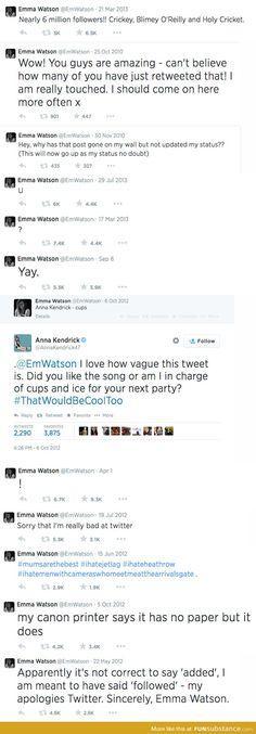 Emma Watson being cute on Twitter
