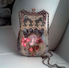 Victorian vintage style Bag Handbag this is velours by EZDessin