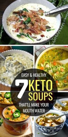 Easy and healthy keto soup recipes on the ketogenic diet. low carb soup recipes with chicken, ground beef, meat, veggies or dairy free. Enjoy these nice keto soups for dinner. Diet Low Carb Keto Soup Recipes on the Ketogenic Diet Low Carb Soup Recipes, Chicken Soup Recipes, Healthy Recipes, Ketogenic Recipes, Low Carb Soups, Healthy Soup, Keto Chicken Soup, Recipes Dinner, Chicken Bacon