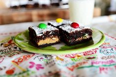 Crazy Brownies by Ree Drummond / The Pioneer Woman. I'm thinking PB cups with chopped up pretzels to fill in the gaps. Mmm.