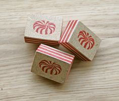 Peppermint sweets.  Hand carved stamp.