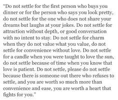 do not settle