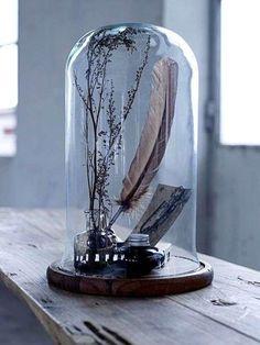 Decoratie  glazen stolp met veren pen .... of ...zet er een vaasje met een bloem   in misschien eenvoudig maar wel  heel mooi