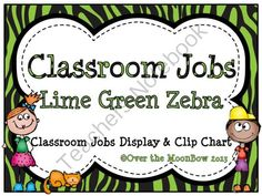 This fun, lime green zebra stripe classroom jobs clip chart will help make classroom management a breeze!