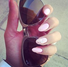 Pink Almond Shape Nails with Gold Glitter Ring Finger