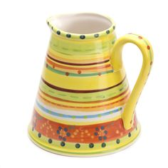 Hand Painted pottery water jug from Festin Coquin will cut a dash on the kitchen window sill.
