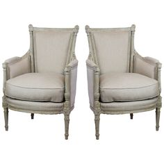 Pair of French 19th Century Bergeres | From a unique collection of antique and modern bergere chairs at https://www.1stdibs.com/furniture/seating/bergere-chairs/