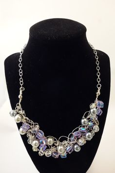 Crocheted crystal and pearl necklace by GloriaynBoutique on Etsy