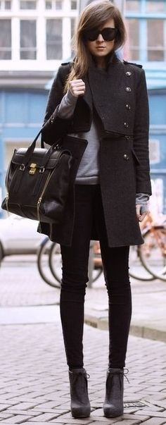 structured coat + skinny jeans + booties