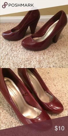 Red heels Small scuff in front. Can see in photo. Block heel. Patent Forever 21 Shoes Heels