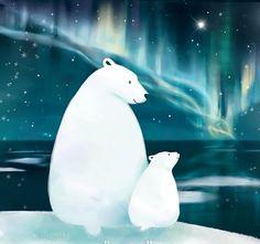 I love this illustration of Polar Bear and baby by Rinian of DeviantArt Polar Bear Illustration, Art Et Illustration, Polar Bear Drawing, Polar Bear Paint, Art D'ours, Art Mignon, Bear Paintings, Art Carte, Bear Art