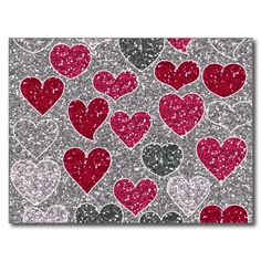 Happy Valentine's Day Glitter Love Bling Hearts Postcards SOLD on Zazzle