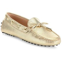 Tod's Leather Tie Moccasins (265 CAD) ❤ liked on Polyvore featuring shoes, loafers, real leather moccasins, slip on shoes, moccasin shoes, slip on moccasins and leather lined shoes