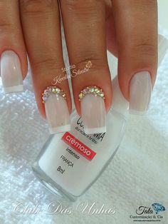 As melhores Unhas Decoradas para Noivas Gel Uv Nails, Acrylic Nails, Bridal Nails, Wedding Nails, Cute Nails, Pretty Nails, Hair And Nails, My Nails, Nail Trends