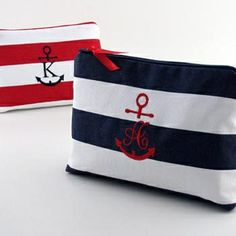 Nautical Cotton Embroidered Initial Cosmetic Bag