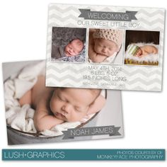 Photoshop Template Newborn Birth Announcement by LushGraphics, $8.00