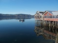 Palafitos (houses on the water on stilts) in Chiloé Island, Chile