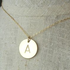 """Gold Initial Necklace with """"M"""" for Madison"""