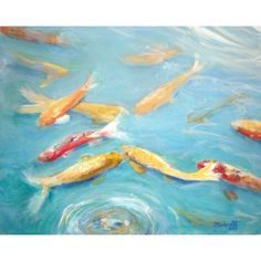 Relaxing Koi Pond 8x10 art print from Kauai Hawaii blue teal aqua... (35 CAD) ❤ liked on Polyvore featuring home, home decor, wall art, teal home decor, yellow wall art, koi painting, unframed wall art and red poppy painting