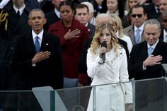 """Jackie Evancho Mormon Tabernacle Choir Perform at Inaugural  The new president called out """"Great job Jackie!"""" after 16-year-old Jackie Evancho delivered a soft-voiced rendition of the national anthem at Friday's swearing-in ceremony. The Mormon Tabernacle Choir sang """"America the Beautiful"""" and the Missouri State University Chorale sang """"Now We Belong"""" in a ceremony that featured decidedly less star power than in 2013. The various inauguration performances have exposed the obvious divisions…"""