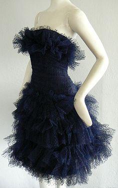 ~1950s Jean Desses Blue Tulle Cocktail Dress~