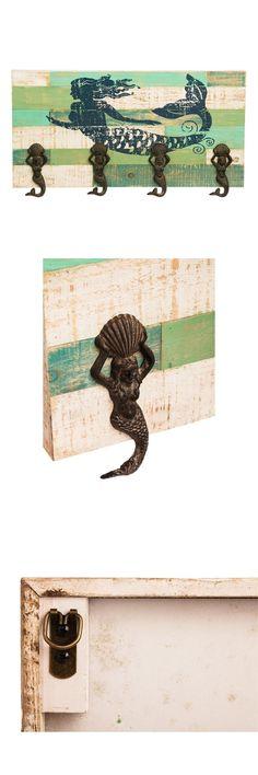 Hooks and Hangers 36024: Nautical Coastal Beach Cottage Mermaid Wood Coat Towel Rack Iron Mermaid Hooks -> BUY IT NOW ONLY: $60 on eBay!