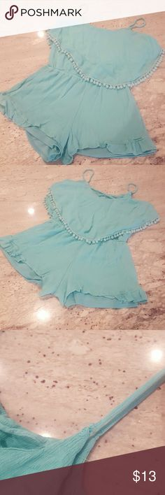Teal romper Fun teal romper with pompoms, worm once, left strap could be sewn as shown in 3rd photo although its wearable without a problem :) not free people, listed  for exposure from Dillards Free People Dresses