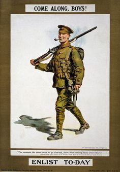 W86 Vintage WWI British Come Along Boys Enlist Army War Poster WW1 ...
