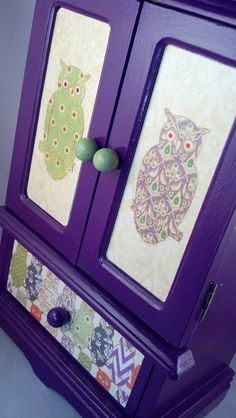 Purple Owls Upcycled Jewelry Box by JewelryBoxesEtc on Etsy, $45.00