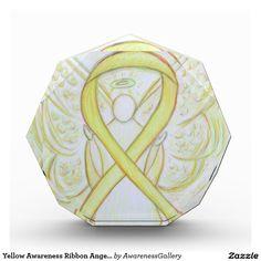 Yellow Awareness Ribbon Angel Award or Paperweight