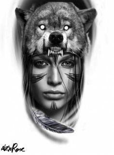 Aztec Tattoos Sleeve, Wolf Tattoo Sleeve, Full Sleeve Tattoo Design, Half Sleeve Tattoos Designs, Sketch Tattoo Design, Wolf Tattoo Design, Tattoo Designs, Native Indian Tattoos, Indian Girl Tattoos