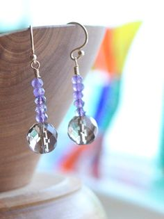 Amethyst and smoky quartz earrings purple and brown by AlaskaDaisy